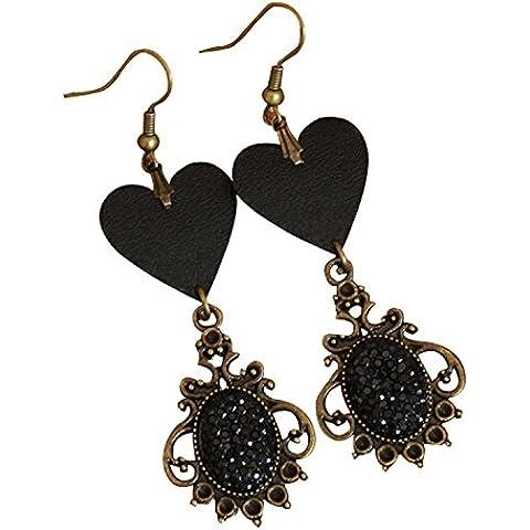 Dansuet Gotico a forma di cuore Faux gemma diam gli orecchini, Faux gemma diam ciondola gli orecchini per le donne