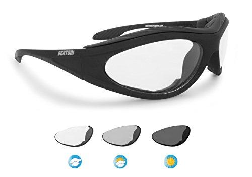 Bertoni Motorradbrille Photochrome Automatische Scheibentönung Antibeschlag - F125 Italy Selbsttönend Bikerbrillen