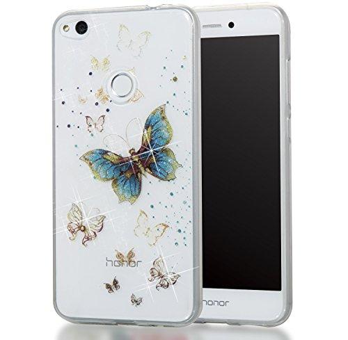 Huawei P10 Lite Hülle, MKOAWA Kunst Gemaltes Kristall Bling Glänzend Funkeln Glitzer Durchsichtig Klar TPU Silikon Hüllen Schutz Handy Tasche Etui Bumper Hülle für Huawei P10 Lite (No.4)