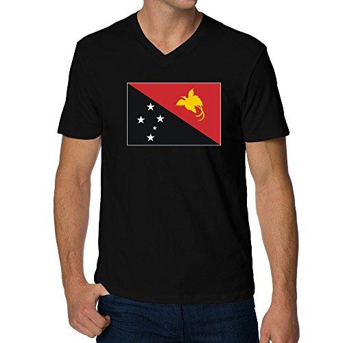 Teeburon Papua New Guinea Flag V-Ausschnitt T-Shirt -