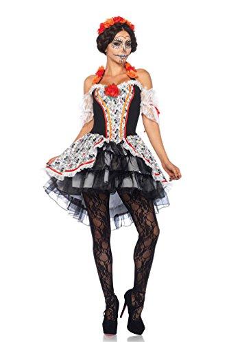 ostüm Tag der Toten Damen-kostüm Luxus Day of the Dead Halloween Dame Größe 44/46 (Tag Der Toten Baby Kostüm)