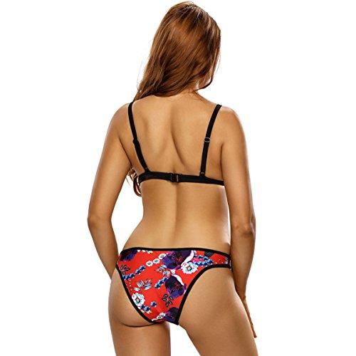 LYJBIK Frauen Bikinis Multicolor Halter Dreieck Split Badeanzug S M L XL XXL OneColor
