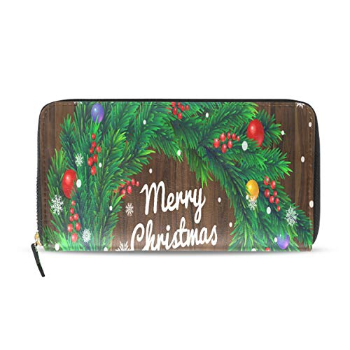 Frohe Weihnachten Frohes Neues Jahr Grün Kranz Lange Passport Clutch Geldbörsen Reißverschluss Geldbörse Handtasche Geld Organizer Tasche Kreditkarteninhaber Dame Frauen Mädchen Männer Reise Geschenk