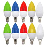 E14 LED Bunte 1W Farbige Glühbirnen Farbig Gemischt 100LM Energiesparende PC LED Bunte Birnen Deko Glühbirne AC220V-240V