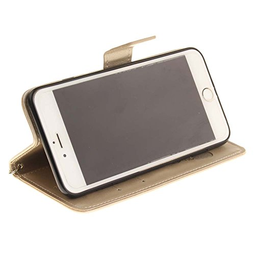 iPhone 6S Plus Coque, Aeeque® iPhone 6S Plus Joli Éléphant Rose Chaud Désign Bookstyle Étui en Cuir Case à Rabat Magnétique Fermeture Coque de Protection avec Porte Carte et Stand pour iPhone 6 Plus/6 Or