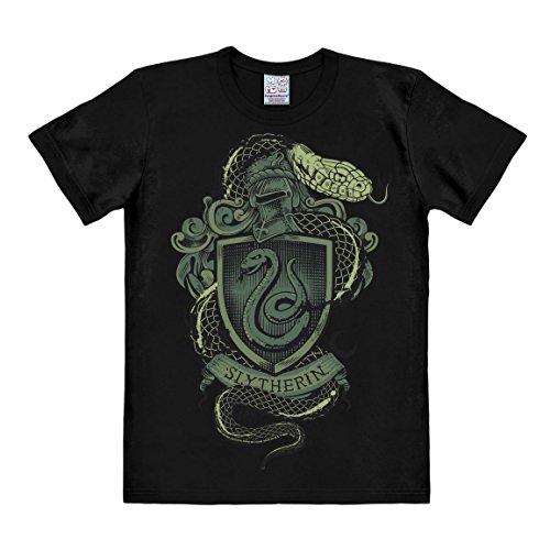n - Slytherin Logo - Schlange T-Shirt Herren - schwarz - Lizenziertes Originaldesign - LOGOSHIRT, Größe S (Slytherin Haus Kostüm)