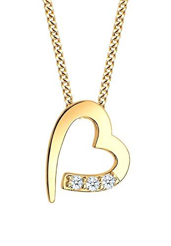 Diamore Damen Halskette mit Herz Anhänger und Diamanten (0,06 ct.) in 585 Gelbgold 45 cm Länge