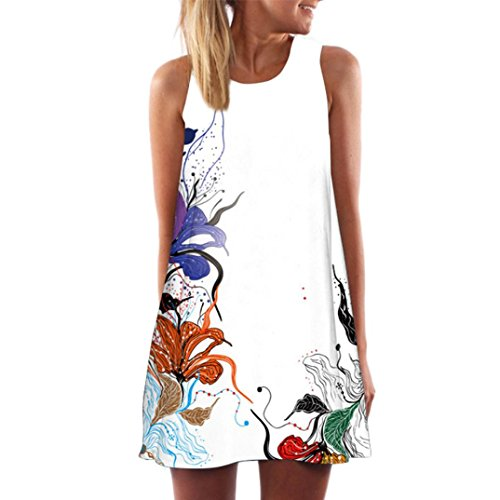 IZHH Damen Ärmellos Sommerkleid Minikleid Strandkleid Partykleid Rundhals Rock Mädchen Blumen...