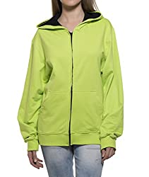 Clifton Womens Sweat Shirt With Hood-Lime Green -S