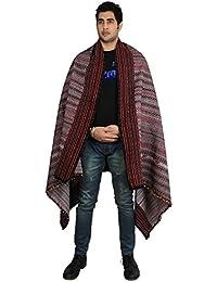 Accessoire châle fait main en laine pour hommes brodé d'Inde