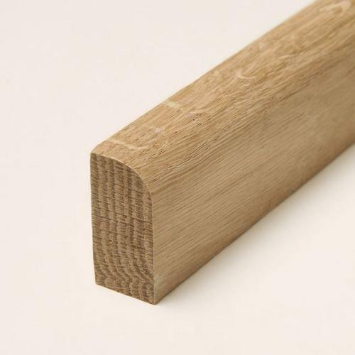 30 lfm Sockelleiste Echtholz Eiche 35 x 15mm mit abgerundeter Vorderkante roh