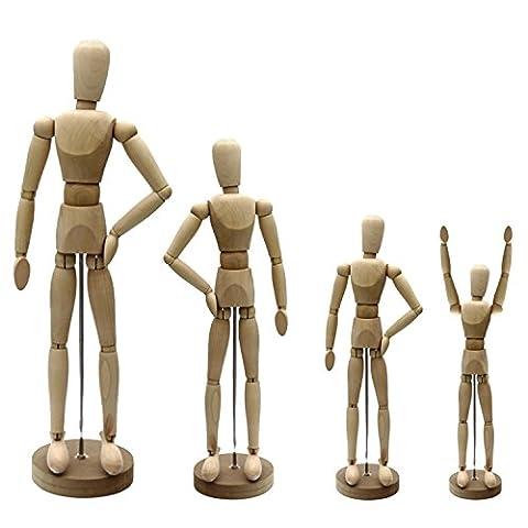 Artina Modèle de dessin Dali - Figurine pour esquisse - Mannequin proportion humaine position réglable - En bois - 11cm