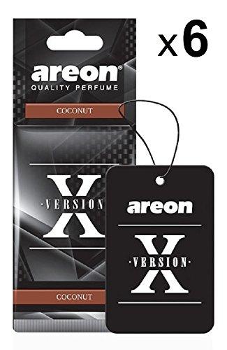 AREON X Deodorante Profumo Auto Cocco Dolce Tropical Originali Nero Da Appendere Pendente Specchietto Retrovisore Cartoni 2D Casa Set (Coconut Pack x 6)