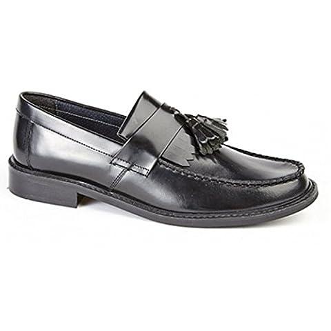 Roamers Mens Toggle Saddle Loafer - Black - Size UK