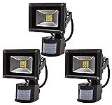 Leetop 3X 20W SMD LED Fluter Floodlight Strahler mit Bewegungsmelder Licht Scheinwerfer Außenstrahler Wandstrahler Aluminium IP65 Wasserdicht AC 85-265V Warmweiss Tageslichtweiß