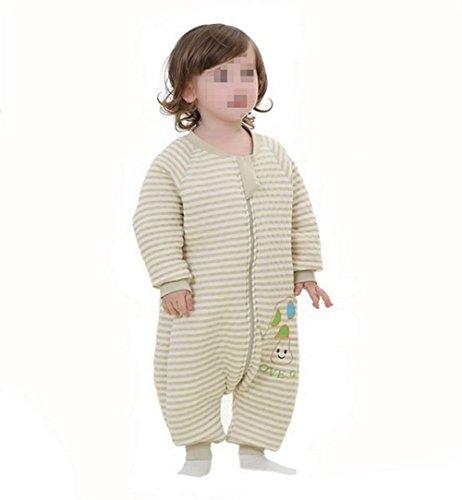 95cm Baby Kinder natürlich gefärbte Baumwolle Winter Schlafsack Schlaf Sack mit langen Ärmeln und Füße für Reisen und Klimatisierte Zimmer Passform für 4 Jahreszeiten