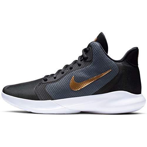 Nike Herren Precision III Basketballschuhe, Mehrfarbig (Dark Grey/Metallic Gold/White/Black 000), 42 EU -