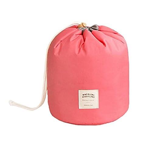 Sac cosmétique cylindrique,Stillshine-Voyage élégante grande capacité sac desac de cosmétique imperméable épaissir avec cordon de serrage. (Rose Rouge)