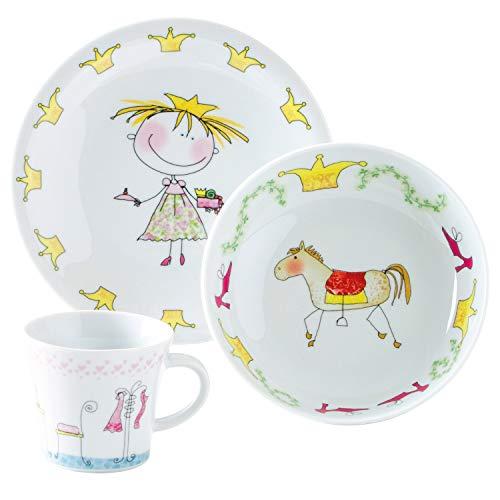 Kahla 32D200O76645C Kids Märchenprinzessin | Porzellan Kindergeschirr-Set | Mädchen Geschirr-Set bunt rund 3 teilig Set Tasse Suppenteller Teller