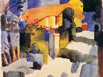 Art-Galerie Acrylglasbild August Macke - Haus im Garten - 80 x 60cm - Premiumqualität - Expressionismus, Orient, Tunesien, Landschaft, Garten, Haus, Tunisreise, Tr. - Made IN Germany SHOPde