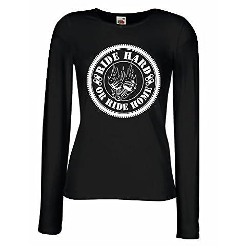 Manches longues Femme T-shirt Ride Hard! Biker clothing (Large Noir Multicolore)