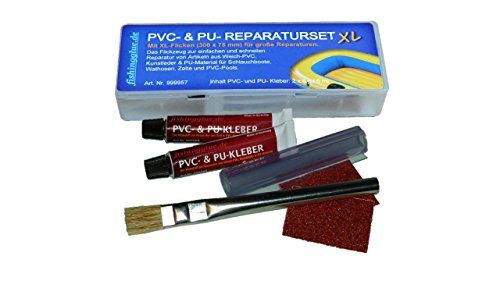 PVC & PU REPARATURSET XL, Flickzeug Schlauchboot Zelt Pool Gewebe Planen Markise Isomatte Luftmatratze Vinyl PVC PU
