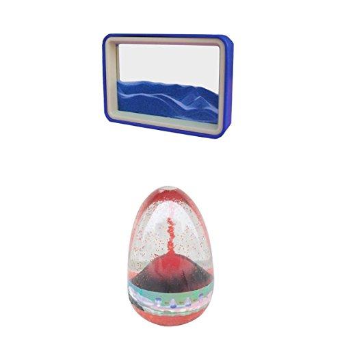 T TOOYFUL 2 Stücke Fließenden Sand Zeichnung Landschaft Flüssigkeit Timer Sensorische Motion Visual Craft