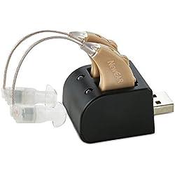 Set de amplificadores auditivos NewEar con tecnología digital - Diseño casi invisible con base USB recargable – Par de amplificadores de sonido personal con control de tono ajustable-Solución auditiv
