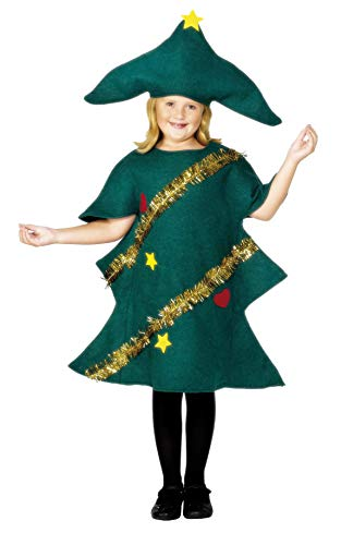 Smiffys, Kinder Unisex Weihnachtsbaum Kostüm, Tunika und Hut, Größe: S, (Weihnachtsbaum Kostüm Kind)