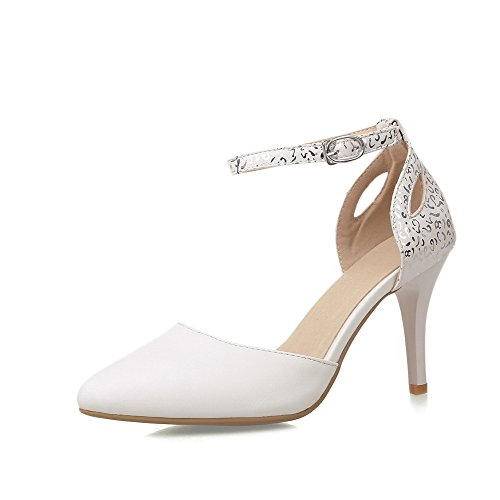 AllhqFashion Femme Matière Mélangee Pointu Stylet Boucle Couleur Unie Chaussures Légeres Blanc