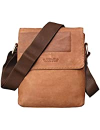 ABYS Tan Genuine Leather Messenger Bag  College Bag  Travel Pouch  Passport Pouch For Men & Women