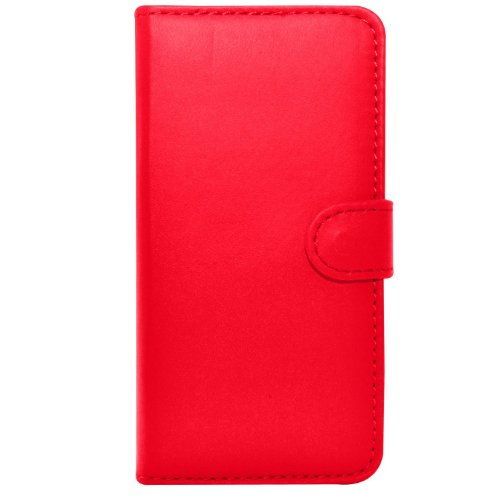 Apple iPhone 7 - Ledertasche Flip Case Cover Tasche + Mini Touch Stylus Pen + Screen Protector & Poliertuch ( Schwarz ) Red