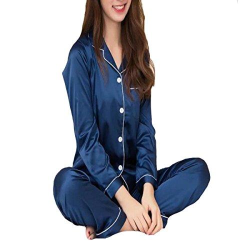 Signora Tian Pigiami Lunghi Del Manicotto Colore Solido Blue