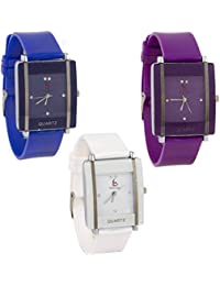 Freny Exim Beautiful And Fancy Square Shape Blue Purple And White Dial Soft Belt Trendy Watches For Women - For...