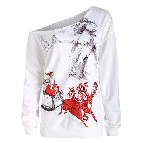 Soupliebe Top Frauen Langarm Gitter Weihnachten Elch Head Print Bluse Mode T Shirt Kapuzen Sweatjacke Kapuzenpullover Hoodie Pullover Sweatshirt