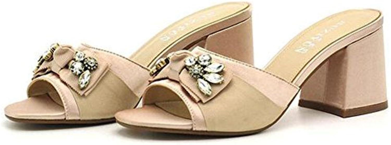 KUKI Mode Fischkopf High Heels Diamant Bogen Sandalen Damen dick mit coolen Sandalen Bogen  US7.5 / EU38 / UK5.5 / CN38 f51d01