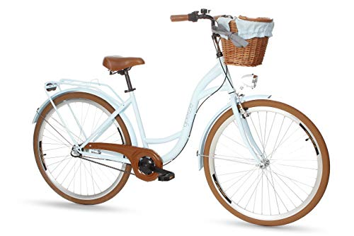 Goetze Colours 28 Zoll Damen Citybike Stadtrad Damenfahrrad Damenrad Hollandrad Retro-Design 3-Gang Korb Hinterradbremse LED-Beleuchtung Hellblau-Braun