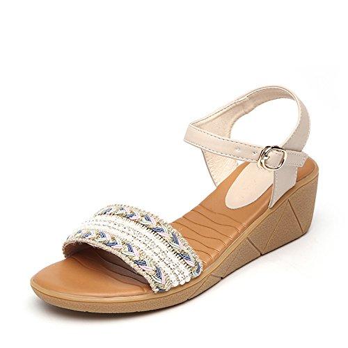 XY&GKMuffin dicken Sohlen von Sandalen Frauen Sommer weben Sandalen mit wasserdichten Taiwan Code, komfortabel und schön 35 apricot