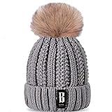 KFEK Neue Strickmütze Damen Herbst und Winter sowie Samt dicken Buchstaben B Standard Wollmütze warme Mütze A5 One Size