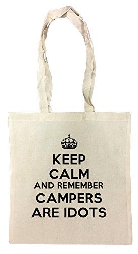 Erido Keep Calm and Remember Campers Are Idiots Einkaufstasche Wiederverwendbar Strand Baumwoll Shopping Bag Beach Reusable