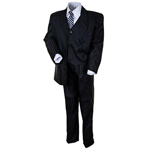 "Kinderanzug ""Tim"" 5-tlg. in blau, hellgrau u. schwarz - Sakko, Weste, Hose, Hemd u. Krawatte (Gr. (10) 134, blau)"