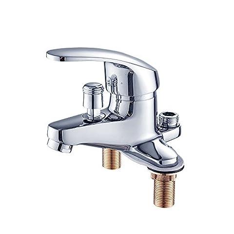Qwer Full-Body Copper Basin Doppelloch 3 Löcher Waschbecken Wasserhahn KERAMIK Kanne mit heißem und Cold-Water Ventil gefolgt von Dusche, Badewanne mit Dusche Armaturen