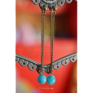 In den Perlen blauen Jade Meer pendantes Ohrringe