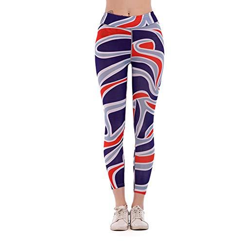 Feidaeu Womens Pants Print Schnell trocknend Super elastisches Yoga Training Laufen Sport Fitness Hose Multi-Style -