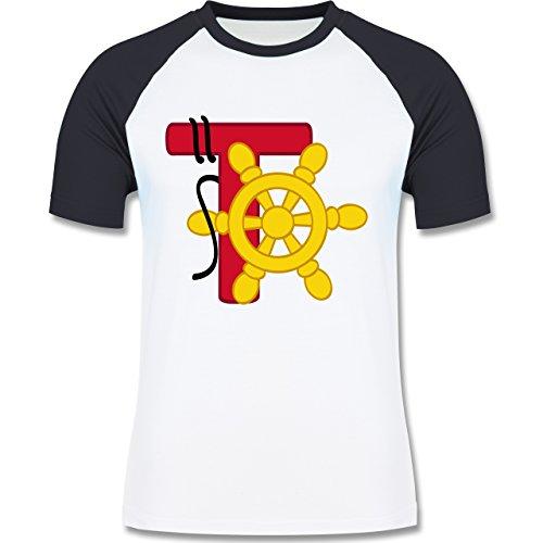 Anfangsbuchstaben - T Schifffahrt - zweifarbiges Baseballshirt für Männer Weiß/Navy Blau