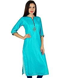 3c0934dad8ac4d Bimba Blau Chic Stil Tunika Indische Gerade Kurta Kurti Frauen mit  Hand-Perlen Arbeit Spitzenbluse