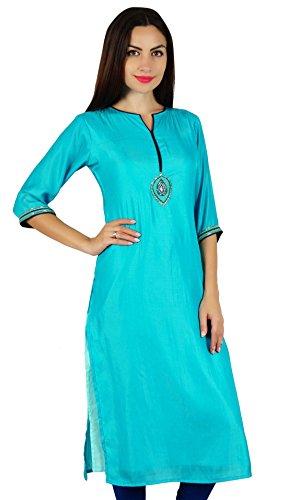 Damen Kurta (Bimba blau chic Stil Tunika indische gerade Kurta Kurti Frauen mit Hand-Perlen Arbeit Spitzenbluse)