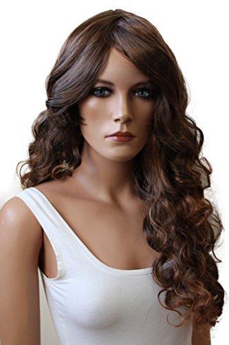PRETTYSHOP Sexy Perücke Wig langhaar gewellt Cosplay Partyperücke Fasching diverse Farben (braun 4T30 (Gewellte Perücke)