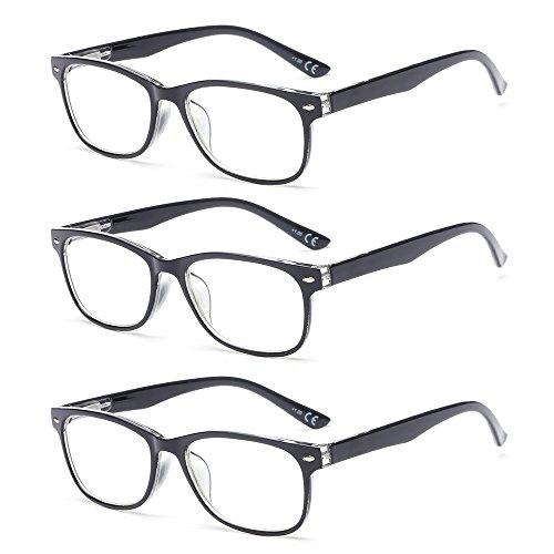 6335820203 SUERTREE Anti Blue Light Computer Reading Glasses Women Men Reader Blocking  3 Pack 2.0X Black