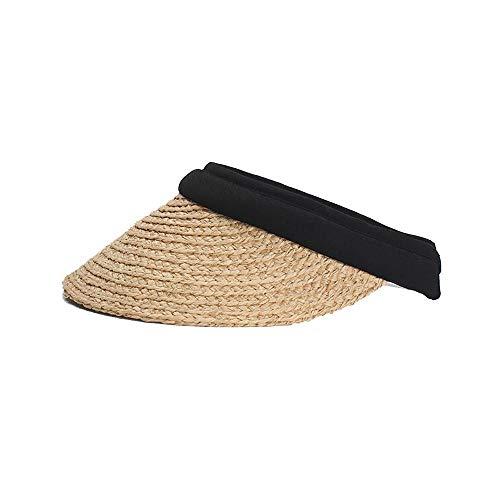 Mamrar Damen Casual Sonnenhut Lafite Sonnenhut Große Floppy Disk Top Hat Cotton Sweat ohne Kappe Visier (Farbe : Light Khaki, Größe : 57-60CM) -